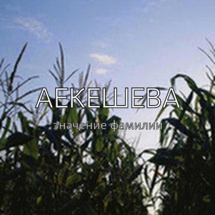 Происхождение фамилии Аекешева