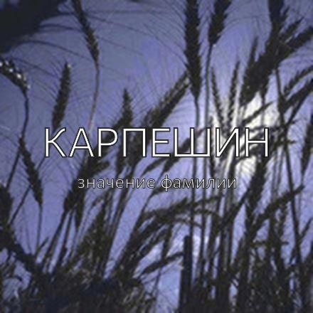 Происхождение фамилии Карпешин