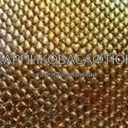 Происхождение фамилии Карпиковасафтюк