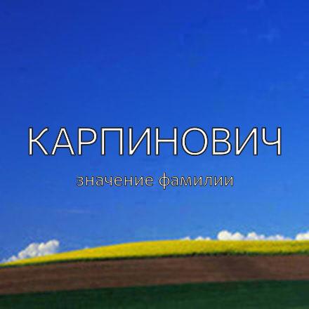 Происхождение фамилии Карпинович