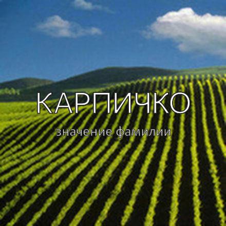 Происхождение фамилии Карпичко