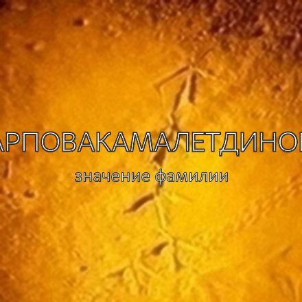 Происхождение фамилии Карповакамалетдинова