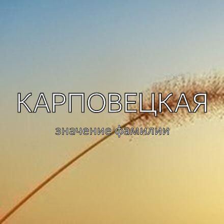 Происхождение фамилии Карповецкая