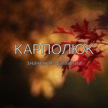 Происхождение фамилии Карполюк