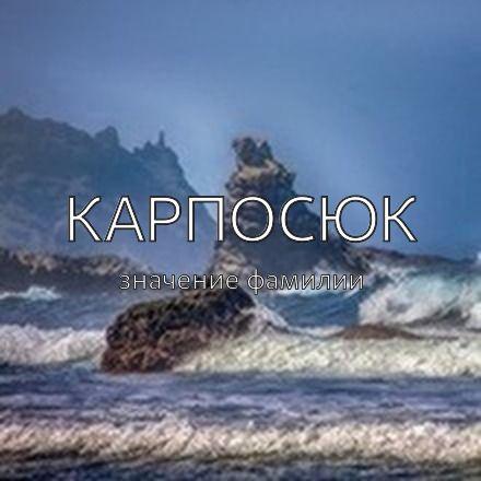 Происхождение фамилии Карпосюк