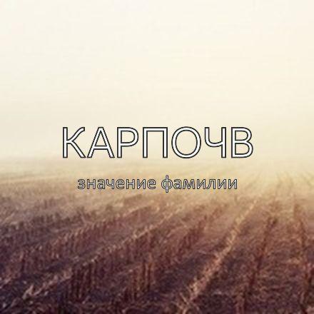 Происхождение фамилии Карпочв