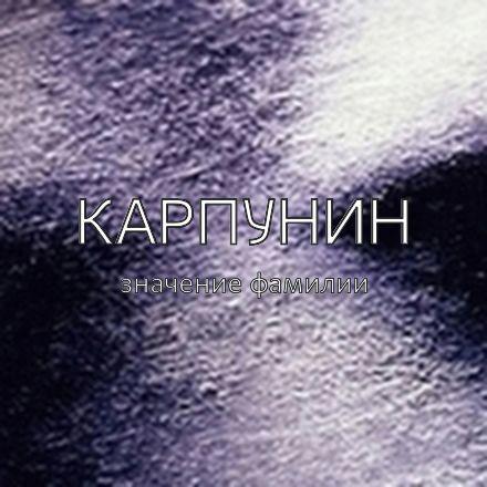 Происхождение фамилии Карпунин