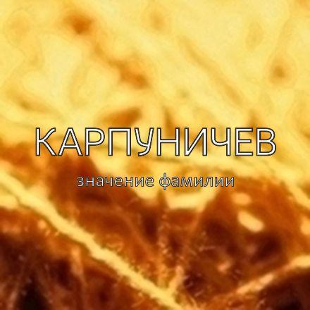 Происхождение фамилии Карпуничев