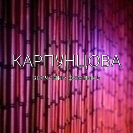 Происхождение фамилии Карпунцова