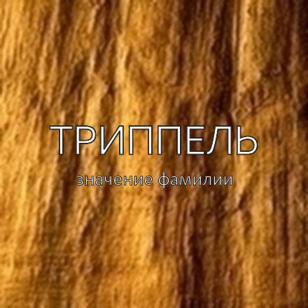 Происхождение фамилии Триппель