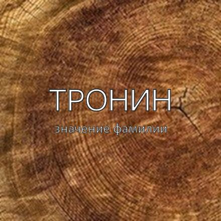 Происхождение фамилии Тронин
