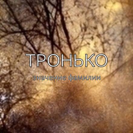 Происхождение фамилии Тронько