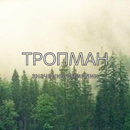 Происхождение фамилии Тропман