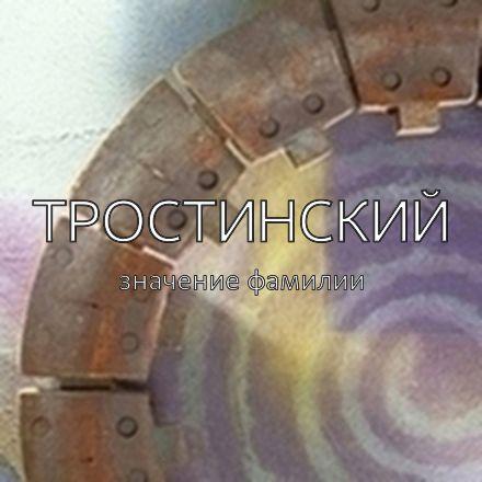 Происхождение фамилии Тростинский