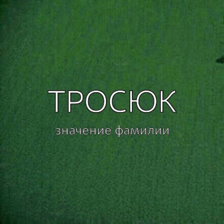 Происхождение фамилии Тросюк